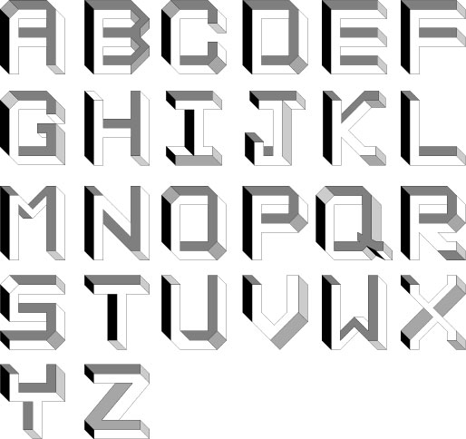 Abecedario de letras con sombras  Imagui
